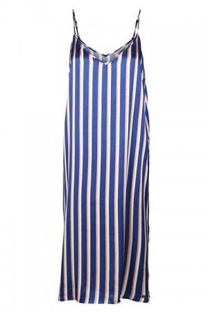 Vestido a rayas en tonos azules, beis y nude, realizado en satén de tirantes finos.