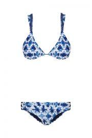 Bikini triángulo, tonos azules y blancos.