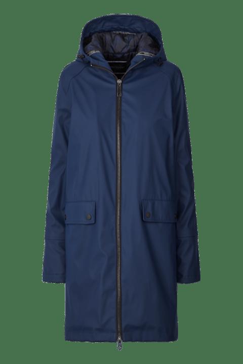 Prenda para la lluvia de cremallera, forrada y con capucha de color azul.