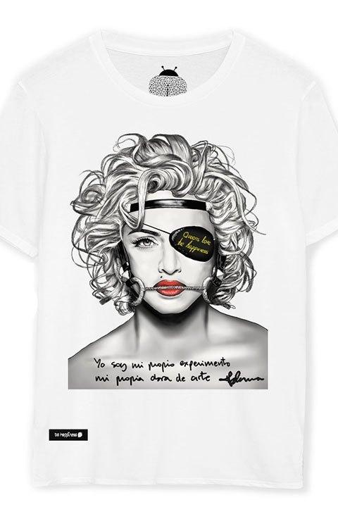 Be happiness. Camiseta Maddona con mensaje.