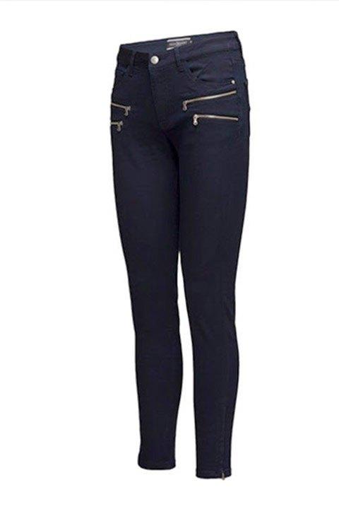 Freequent. Pantalón Aida elástico de algodón en color azul.