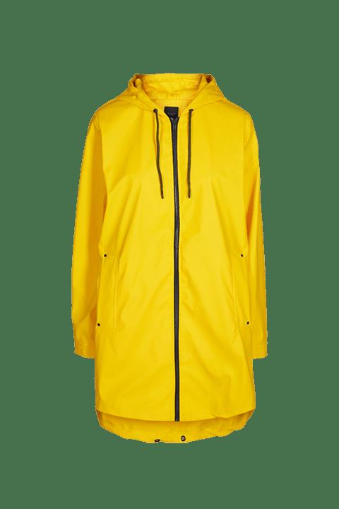 Chubasquero en bonito tono amarillo de manga larga y capucha.