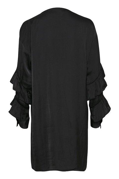 Vestido negro de corte recto pero holgado en tono negro, visto por la espalda.
