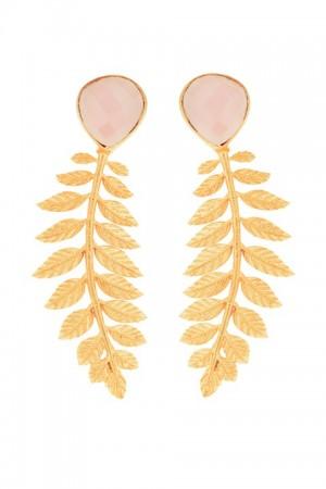 Alibey. Pendientes con espiga de hojas en dorado y piedra en rosa.