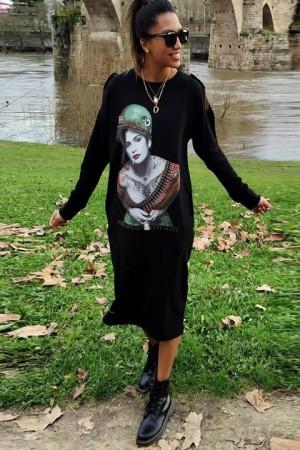Vestido algodón midi en color negro