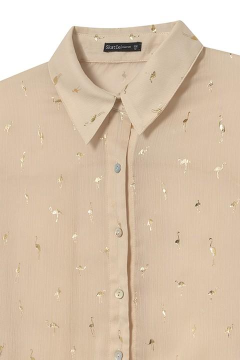 Detalle camisa flamingos. Skatïe.