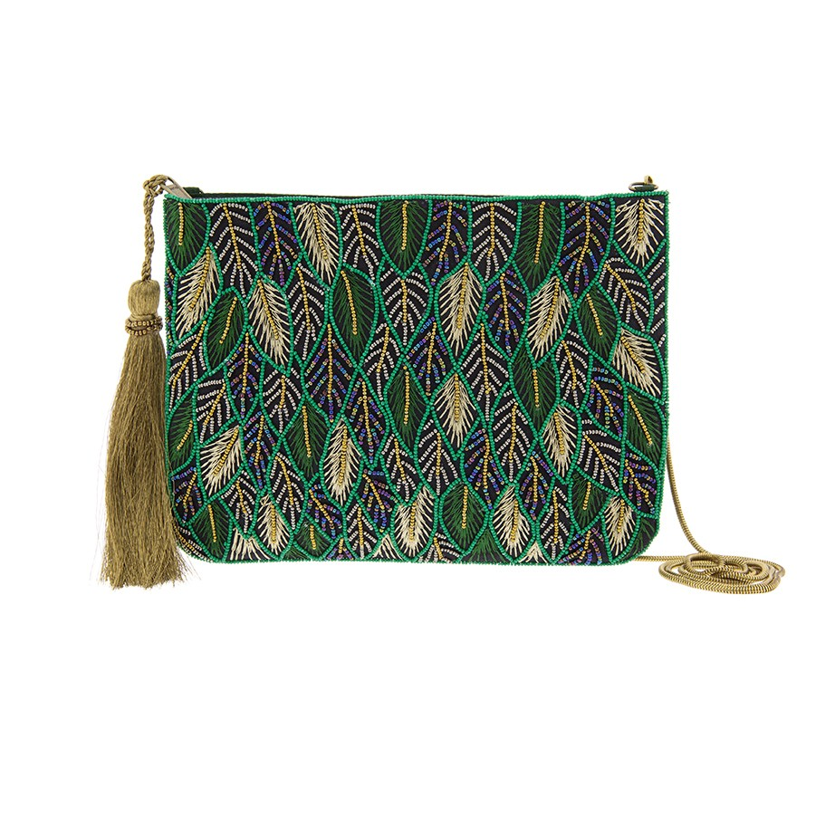 Cartera/bolsito con bordados de hojas. Alibey accesorios.
