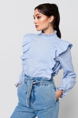 Blusa volantes lucy frill en tono azul de Rut&Circle