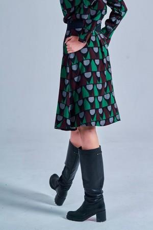 Falda Haya de estampado geométrico. Smile.