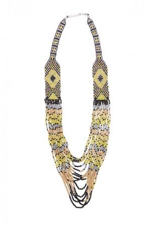 collar bordado a mano amarillo Alibey accesorios.